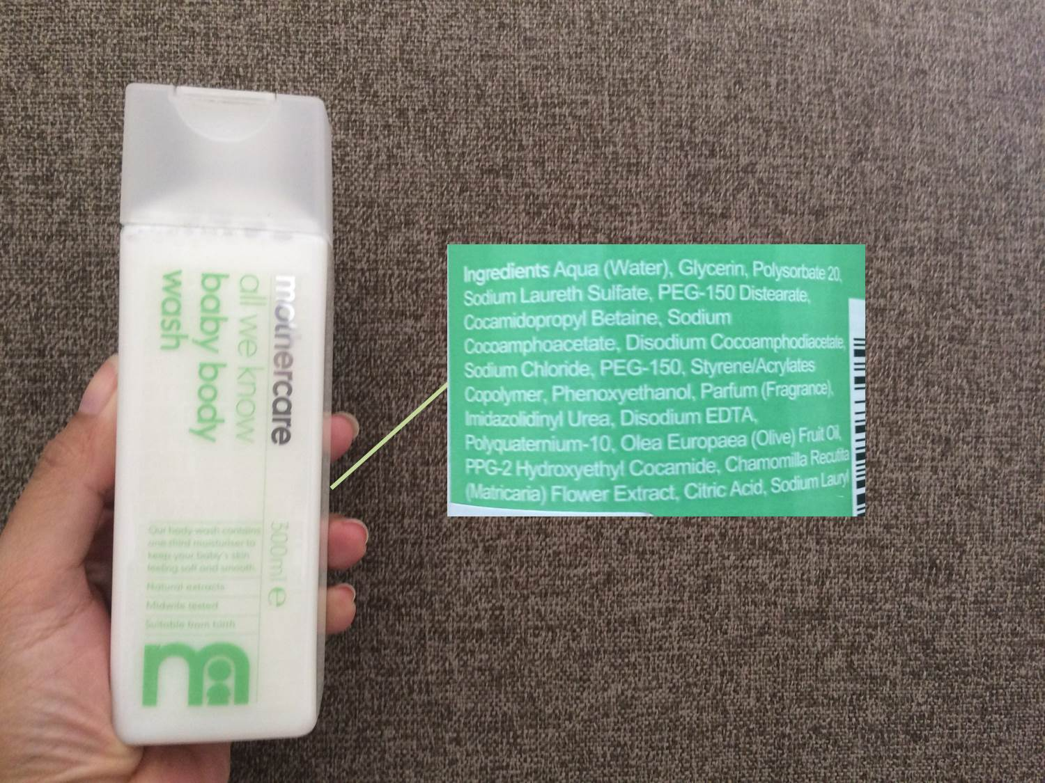 mothercare bodywash ingredients